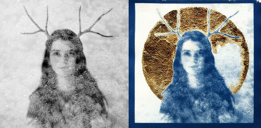 HumaNature film double exposures plus cyanotype plus gold leaf
